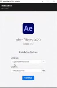 Adobe After Effect Installation Step 1