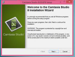 Camtersia Installation Step 1