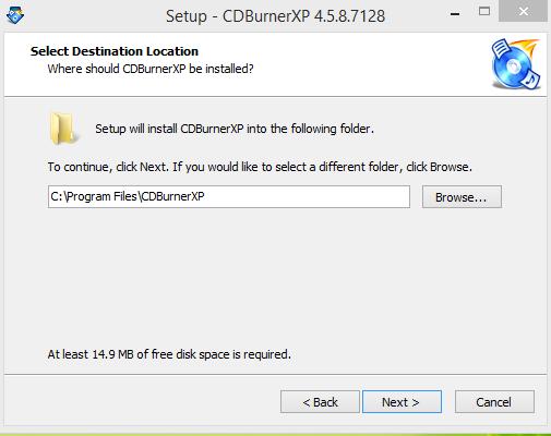 CDBurnerXP Installation Step 1