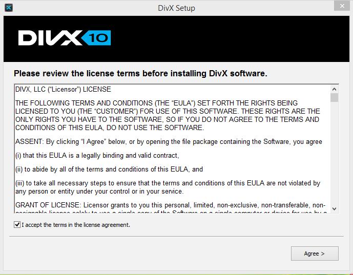 DivX PLayer Installation Step 1