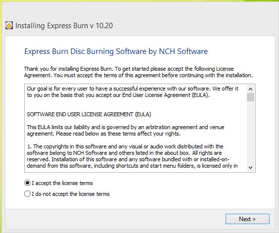 Express Burn Disc Installation Step 1