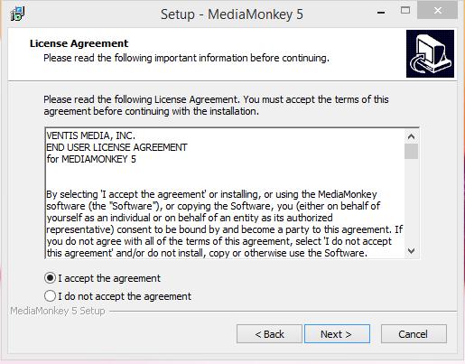 Media Monkey Installation Step 2