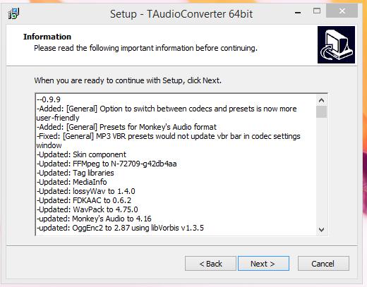 TAudio converter Installatio Step 3