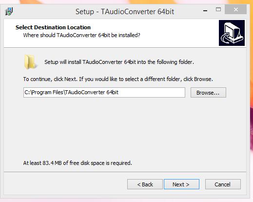 TAudio converter Installatio Step 4