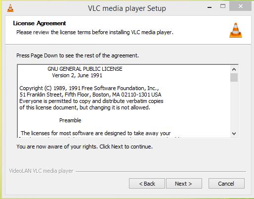 VLC Media Player Installation Step 2