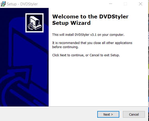 DVD Styler Installation Step 1
