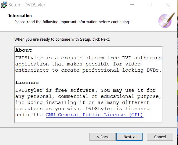 DVD Styler Installation Step 2