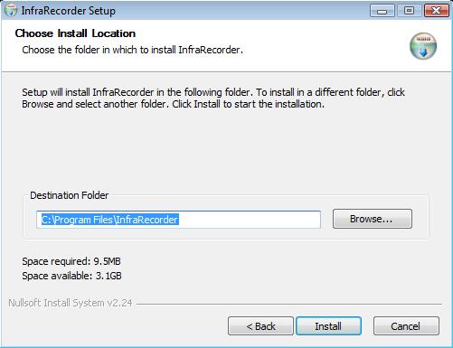 infraRecorder Installation Step 3